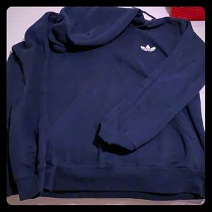 Adidas hooded sweatshirt  in navy color size large